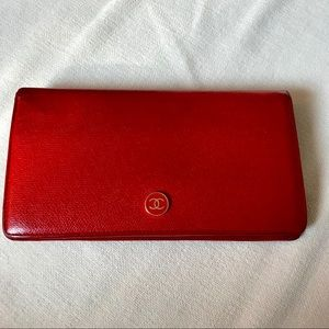 Auth CHANEL CC Logo Vintage Leather Bifold Wallet